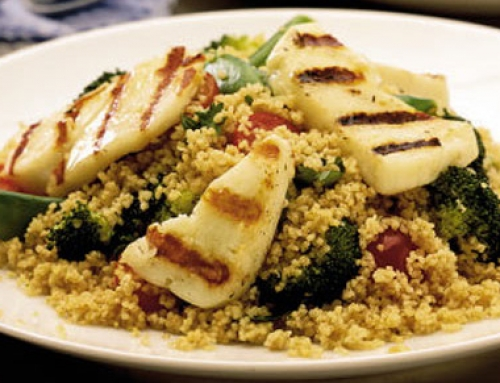 Grilled Halloumi Cheese with Spiced Couscous